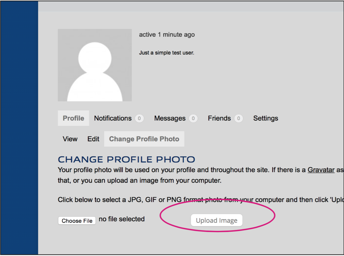Click 'Upload Photo' and choose your profile picture.