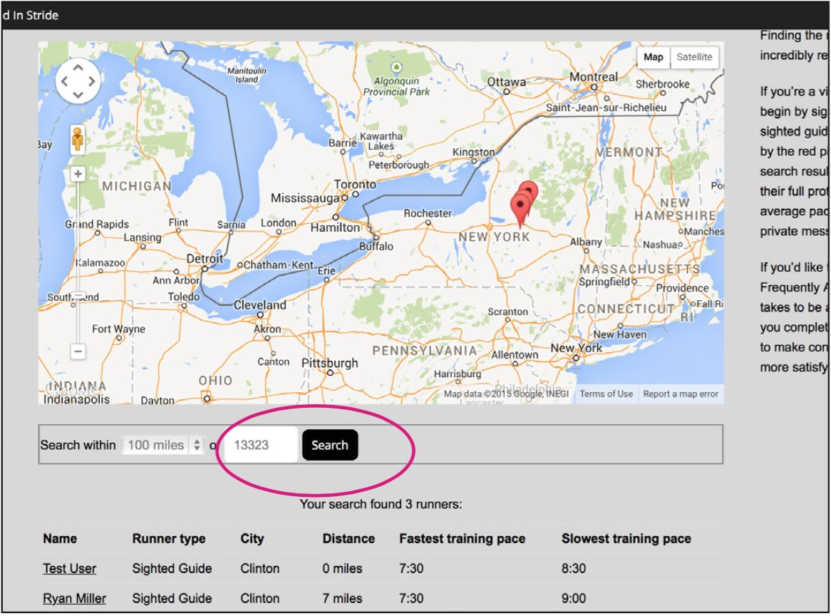 On the 'Find A Partner' page, type your Zip Code and a desired search radius to see VI Runners & Guides in your area.